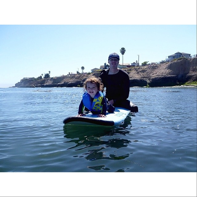 Happy Father's Day! Brian is taking his lovely daughter Kaia for her first surf, making the best out of the small swell in Santa Cruz. A bit later they caught a wave together. #awesome #awesomesurfboards #happyfathersday