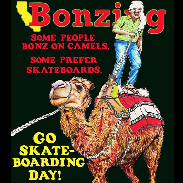 Some people Bonz on camels, some people prefer skateboards!  Have a kickass go skateboarding day!  Artwork by Team rider Yvonne Byers--@yvonzing.  #bonzing #goskateboardingday #sanfrancisco #skateboard #shapers #artists