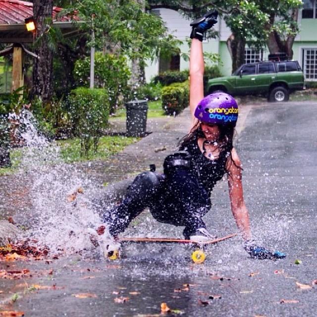 Gina Mendez from panama having fun in the rain☔️! #loadedboards #triple8 #orangatangwheels #techslide