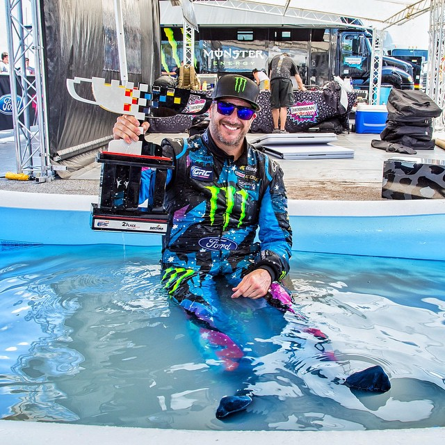 Being in a HOT racecar all day = using the kid's pool to cool down in the service area after the race. It was over 140 degrees inside the Ford Fiesta ST #RX43 today, all I could think about was doing this. Just like last year!...