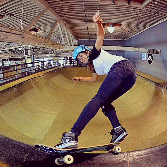It's Go Skateboarding Day! @ameliabrodka with a feeble fakie at the #Nike indoor skatepark .  Photo: @olga_aguilar__ #xshelmets #goskateboardingday2015 #girlswhoshred #skate #skatelife