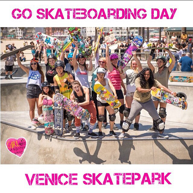 The ladies represented at #VeniceSkatepark during their Girls Only Bowl Demo! Way to celebrate #GoSkateboardingDay!