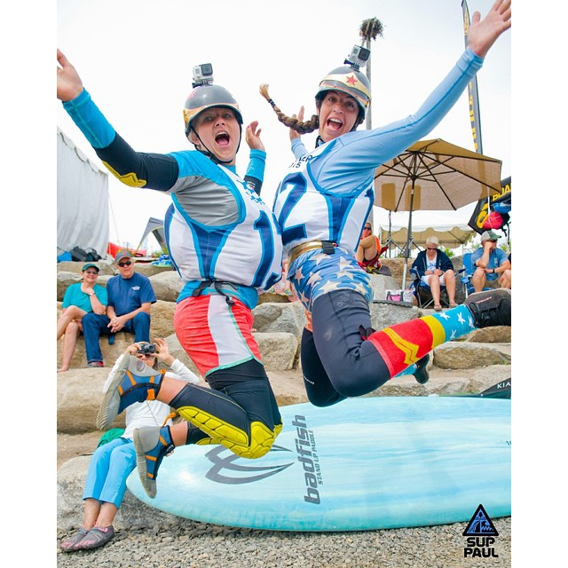 Highlight of the weekend? Doing chest bumps with my Lil River Sista @sagekayak! #teamboardworks #welivewater @badfishsup @boardworkssurfsup  Huge thanks to @suppaul_pics for capturing these moments so well!
