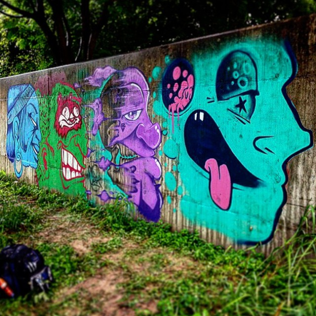 @roshi_k | @brikslovesyou | @killahcaskone | @manwithpencil • • #bluedozencollective #bdc #streetart #art #hikeandpaint #atx #austintx #texas #tx #spratx