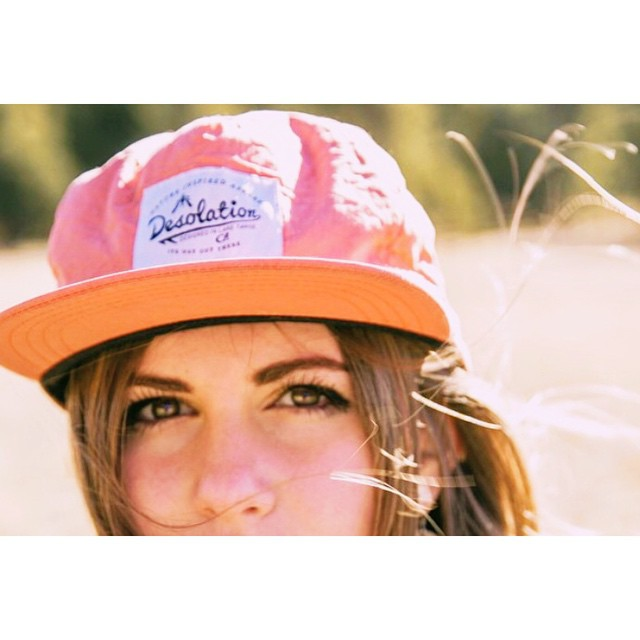Our camper cap and @gr.emily staring straight into your soul.  Photo: @trev3trimm _ #itswayoutthere #desolationsupply #madeinCA #DESO