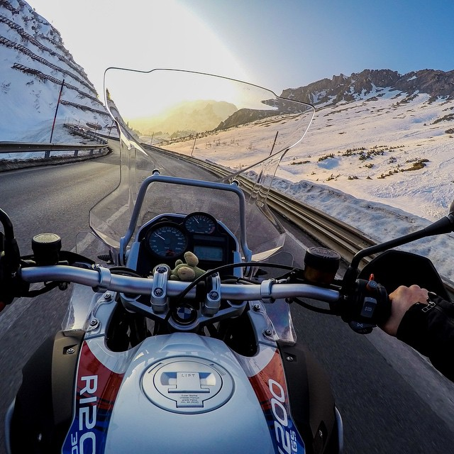 Photo of the Day! Skier Helli Fischer chose a BMW R1200 GS and this view for his first ride on a motorcycle! Show us your GoPro Firsts by clicking the link in our profile. #Motorcycle #Motorbike #GoProTravel