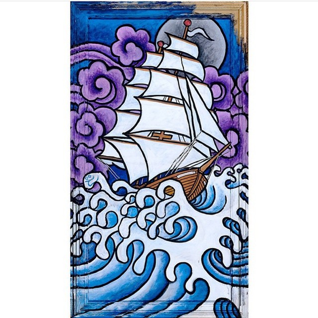 Approaching Storm by @jamiemlynn is back in stock, along with many others. Signed, numbered and ready at Asymbol.co. Hoist the sails! #asymbolart #asymbolartist #jamielynn #approachingstorm