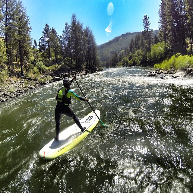 Quick 10 mile paddle in Banks Idaho with my buddy @suppaul_pics. Fun run, class 3 pool and drop style river. #GoProGirls