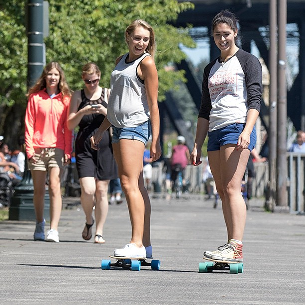 @alexreininger214 and @bendlongboardgirl cruising to the Portland Farmer's Market on the Urban Native. #portland #pdx #longboard #longboarding #longboarder #dblongboards #goskate #shred #rad #stoked #skateboard #skateeveryday