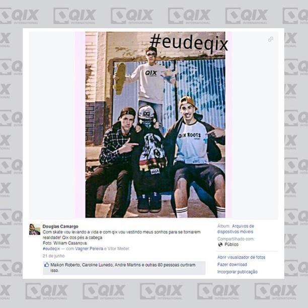Resultado #eudeqix. Douglas Camargo é o vencedor da campanha em alusão ao Dia Mundial do Skate.  Saiba mais em: www.qix.com.br