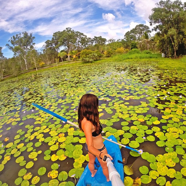"""Commandeered a kayak and took it for a spin through this lily pad playground."" Photo: @iempanda GoPro HERO4 