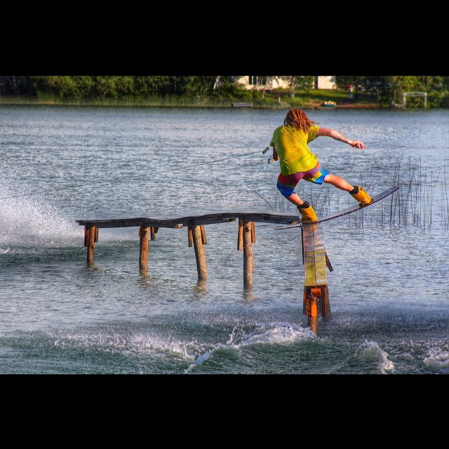 Our pal @schleper on his homemade rail in Minnesota.