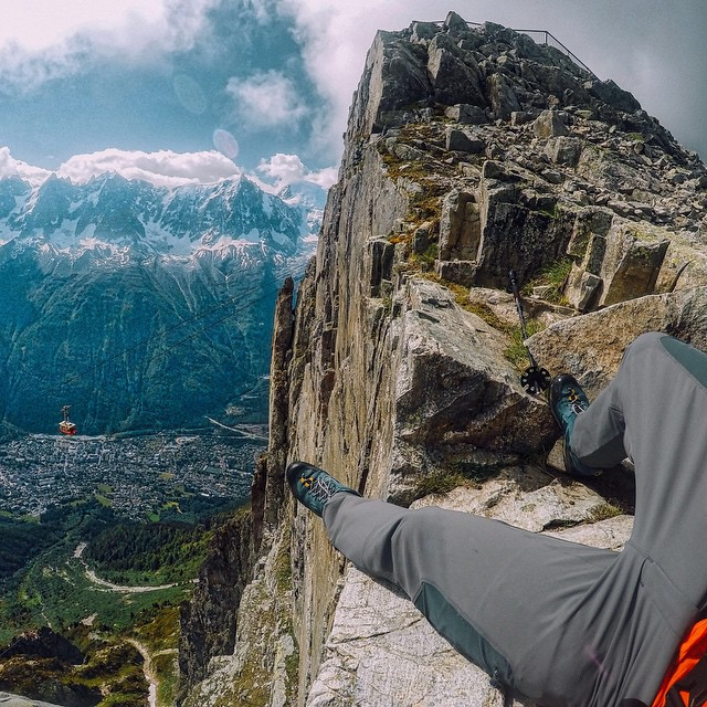 Photo of the Day! Ricardo Ricci takes a break out on the edge of Mt. Brevent, France. #GoPro #Hike #Alps #PhotooftheDay
