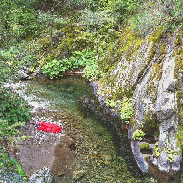 This was the first Rumpl ever made, and the first photo of a Rumpl ever taken. Creek nap near Downieville CA. #BackToOurRoots #gorumpl