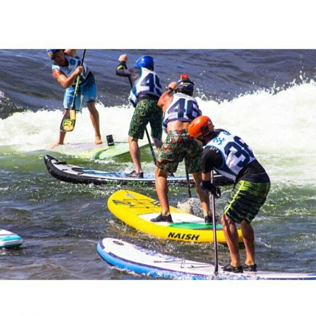 Hala Gear athlete @suppaul_pics battling it out in SUP cross at #payetterivergames . Read more at BoardersMag.com @payetterivergames 2015 recap #prg15