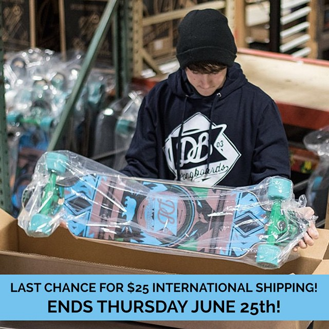 Tomorrow is your last chance to take advantage of $25 flat rate international shipping and free shipping in the United States at DBlongboards.com!