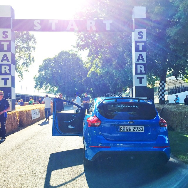 Hello from @FOSGoodwood! Wasted no time in taking a test run up the hill in this thing: the all-new 2016 Ford Focus RS. It's going to be a fun weekend alternating between this thing and the Hoonicorn. #newnew #comingsoon #yaaaasssAWD #FocusRS