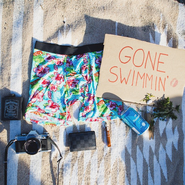 Gone swimmin' ✌ #summer #essentials #bluefloral #permissiontoplay