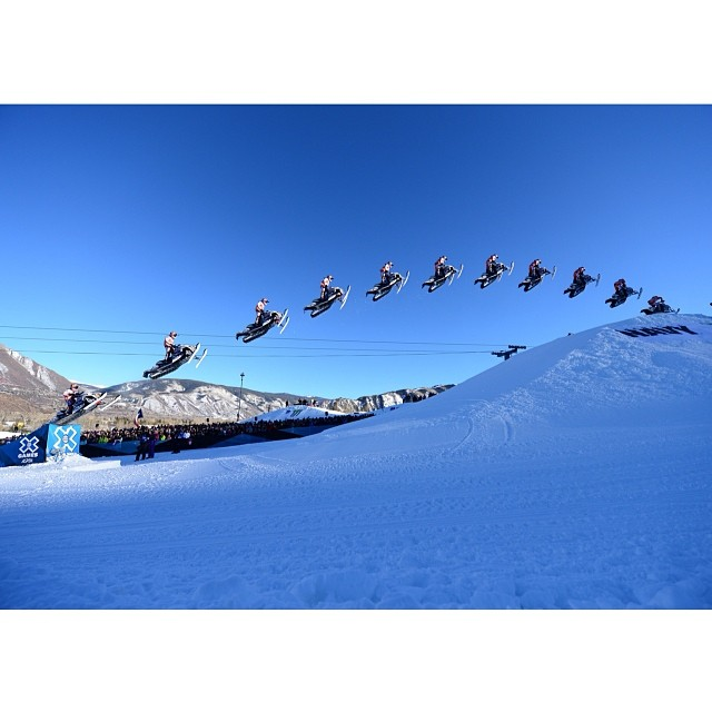 This is how you win Snowmobile Long Jump! #xgames @levi_lavallee  Photo @phil_ellsworth