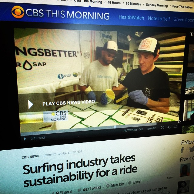 Getting to see yourself on TV is a pretty interesting way to start the day... Thanks to Charlie Rose and the gang over at @cbsthismorning for featuring the emerging shift towards sustainability in surf culture - and our role in sparking that fire :)...