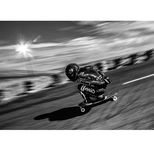 @skatebagels shot by @donsheffler during #MaryhillFestivalOfSpeed2015 happening now in USA! Practice day 2 just went down.  #longboardgirlscrew #womensupportingwomen #skatelikeagirl #girlswhoshred #mfos #maryhill #rachelbagels