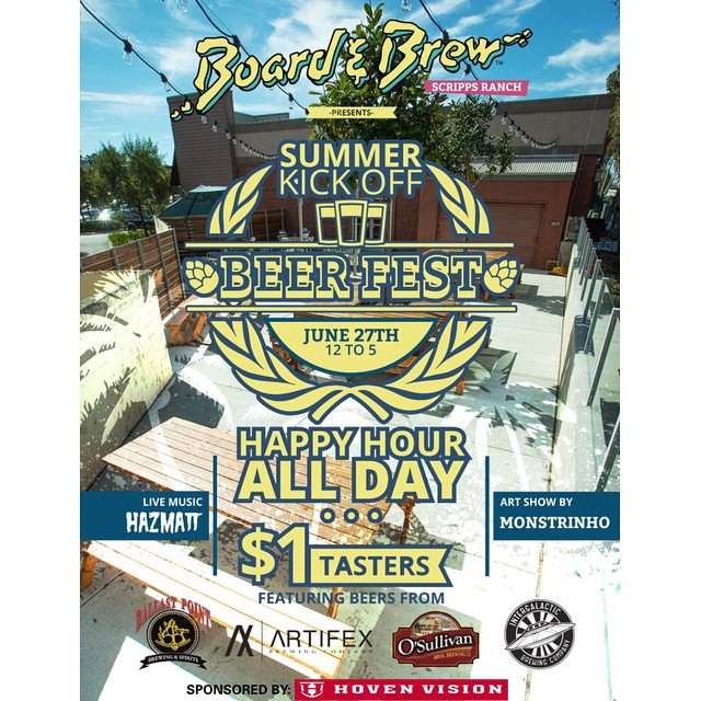 Whammy!!! If you like sammies and brewskis head on down to Board N Brew Scripps Ranch for their Summer Kick Off BEERFEST event!! Happy hour all day with $1 tasters and live music from @hazmattmusic . Bring a friend or a puppy, it's going to be a good one!