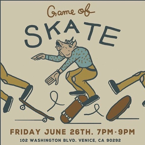If you're in the Venice ca area stop by @arborvenice and sign up for a game of skate! All ages welcome. 10 bucks to enter. Rad prizes! Get some!