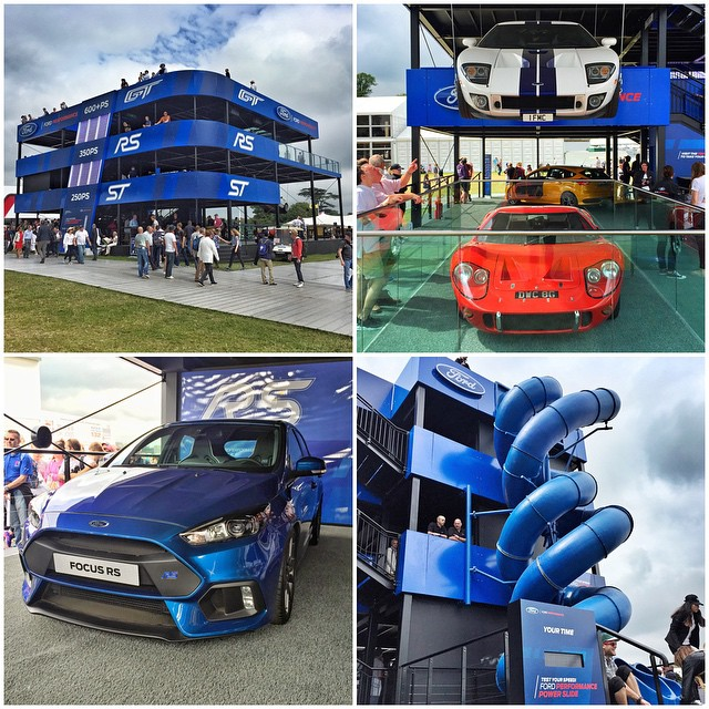 @FordPerformance's setup out here at @FOSGoodwood is so fun. Floating Ford GTs, an all-new 2016 Ford Focus RS, a SLIDE, and more. Props to them on an awesome display area! And if you're here at Goodwood, come by at 3:00pm tomorrow - I'll be signing a...
