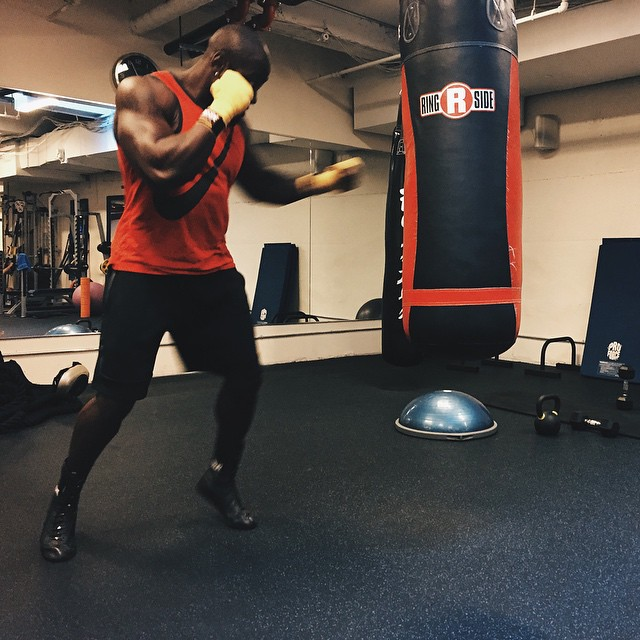 Hitting the bags with Ambassador, @getbodied_by_mitch. #BeastMode #ReplaceTheLace