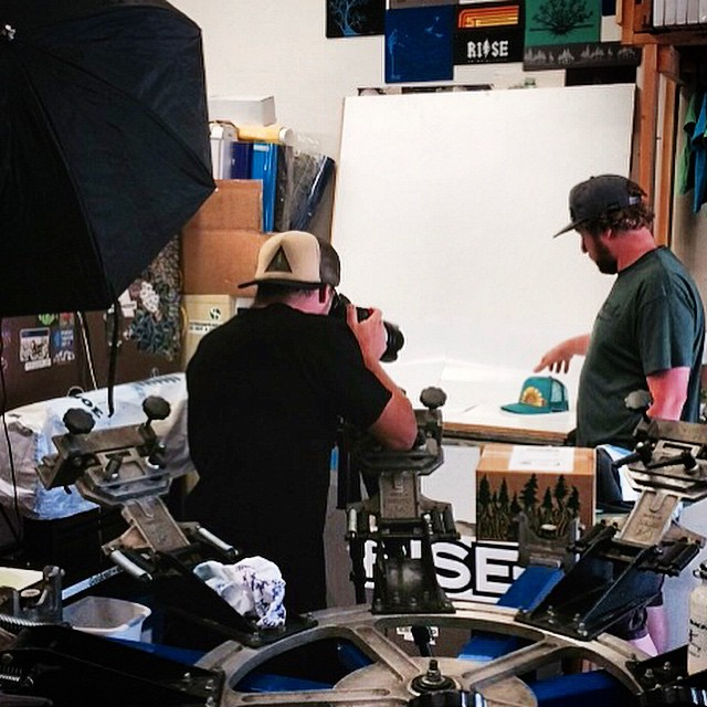 Shooting some new product in house with @brian.walker . We try to do as much in house as possible, even though it's a squeeze. #risedesigns #riseshop #inspiredbynature #photoshoot #meyerspride