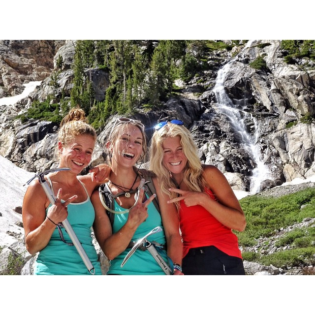 Don't go chasing waterfalls... Chase summits instead! Adventure girls @fifty.shades.of.purple @kyehalpin and @savcum celebrate after a fun jaunt up the Middle Teton. #avalon7 #adventuregirls #liveactivated www.avalon7.co