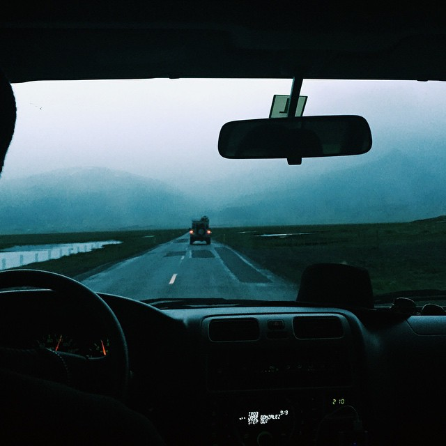 2am driving to east Iceland. Surfing till midnight under hail, double rainbows and 2-hour long sunsets that still don't induce the darkness. Round the clock light in a daydreamers paradise.