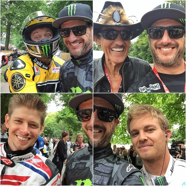 #SelfieSunday! From today at #GoodwoodFOS: Valentino Rossi, Richard Petty, Casey Stoner, Nico Rosberg. #epiclineup #legends