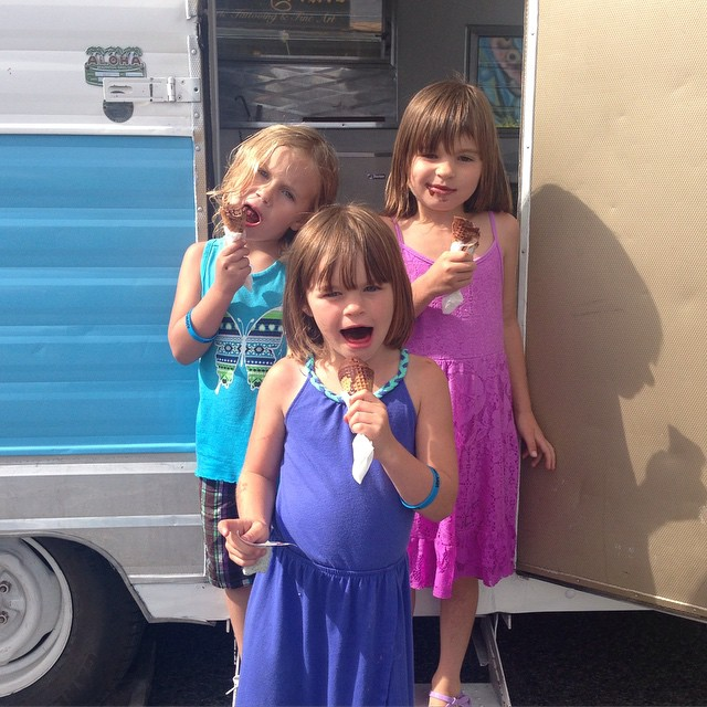 The little honey's at the Pleasure Point Street Fair yesterday having an ice cream social in the trailer! ✌
