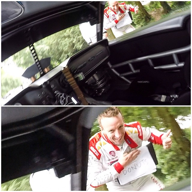 "The marshals here at Goodwood made a ""NO DONUTS"" sign here at @FOSGoodwood, but WRC driver Kris Meeke took that and guided me in the right (aka fun) direction as I passed by him in the Hoonicorn. #justsayyestodonuts #donutsallday"