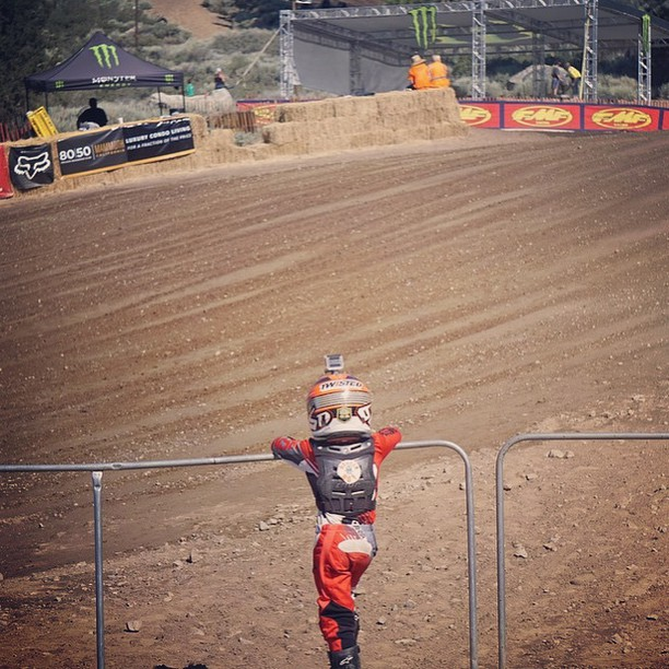 @dangerboydeegan studying his lines at @mammothmotocross a few days ago. Focus