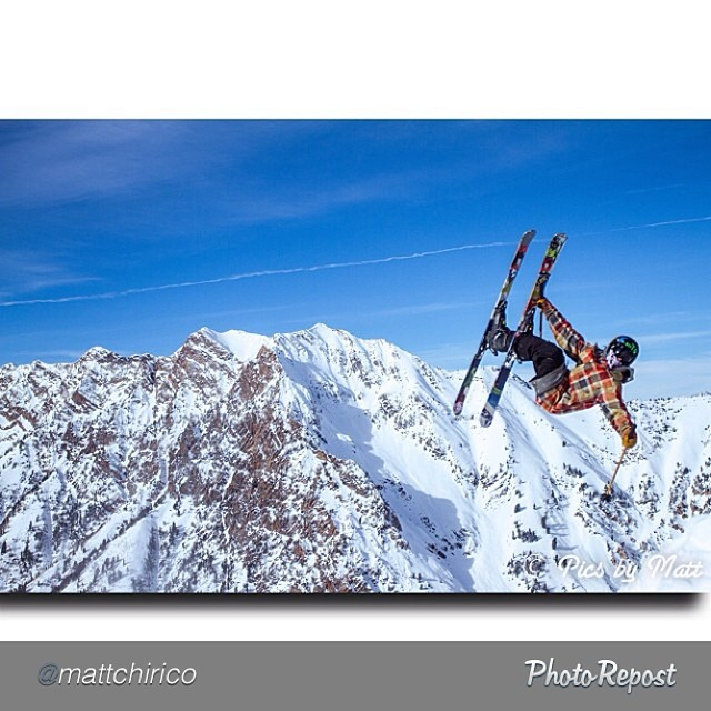Matt Chirico captures River Lucas at a critical point, high in the Wasatch Mountains.  #pandapoles #magicskiwands  @mattchirico @riverlucas @snowbird