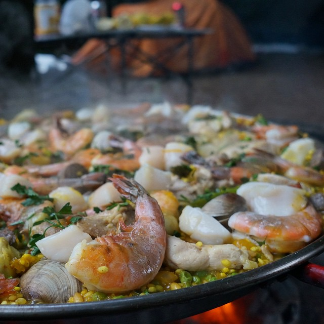 It was either this or hot dogs @cleatus_cobb #camping #paella #gourmet #mendocino #campingfood