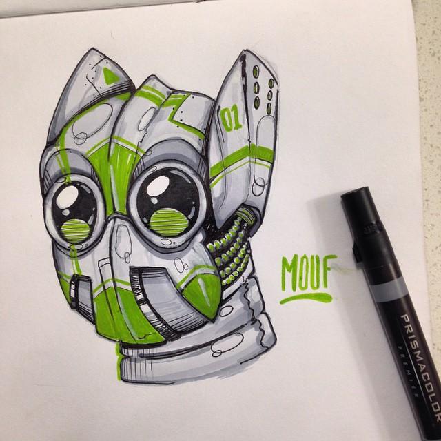 @watchyourmouf • • #atx #austintx #tx #spratx #texas #mouf #art #sketch #robot