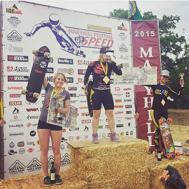 #MaryhillFestivalOfSpeed 2015 Women's Podium! 1. @emilylongboards  2. @vwaddington_skates  3. @spokywoky  4. @tamaraprader  Congrats to all the ladies killing it this year and shoutout to @georgiabontorin on her crash. Good recovery Georgia!