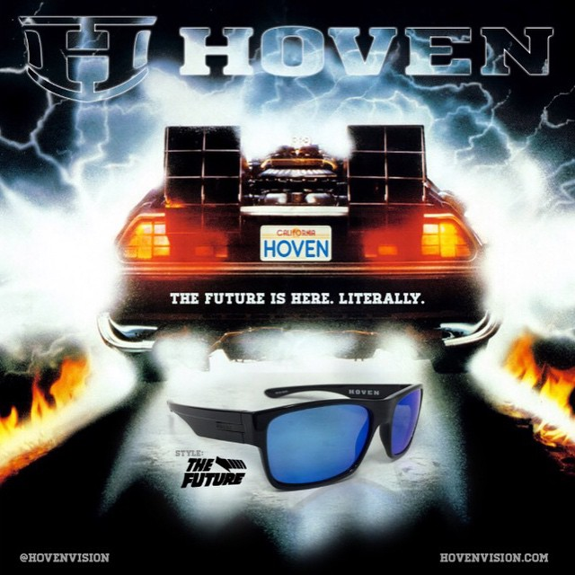 Great Scott! Have you heard?? The new Hoven Futures are in! Get in your car, reach 88mph, (safely) and get to the nearest Hoven retailer. Available polarized in flat and gloss black. #hovenvision #future #polarized #mcfly #lightweight #dontbechicken