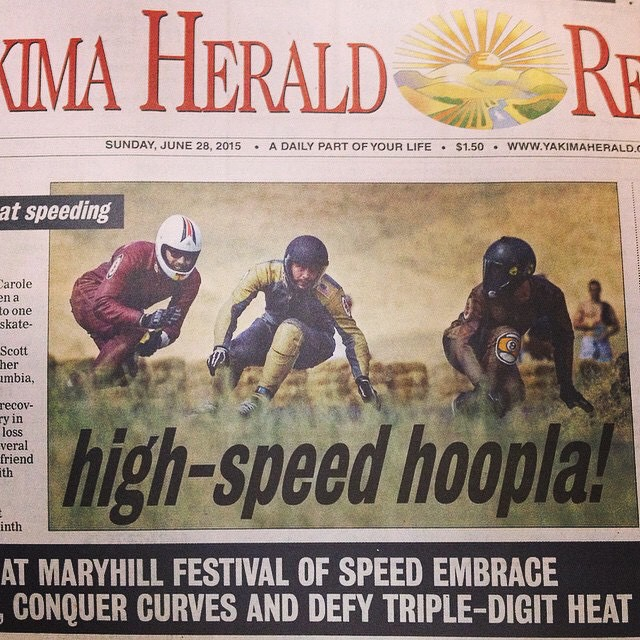 Big congratulations to Team rider Michael Carson--@mcarsonlikescats racing at Maryhill Festival of Speed this weekend!  Check out Mike on the front page of the Sunday paper!  #michaelcarson #maryhillfos #bonzing #mccatboard