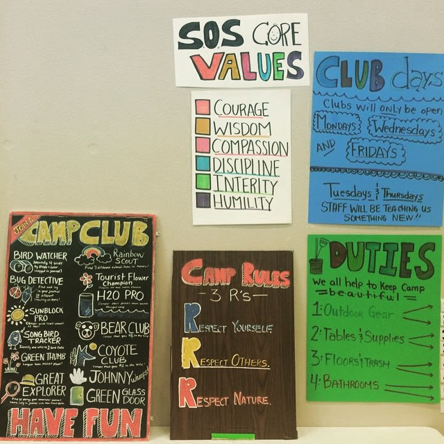 Camp Explorer kicked off in North Lake Tahoe today as part of a joint effort between SOS Outreach and Tahoe Family Solutions.  We love seeing our core values posted on the wall! | #tahoe #northlake #laketahoe #camp #tahoefamilysolutions...