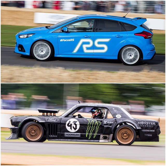 Had a blast driving the new 2016 Ford Focus RS and my Ford Mustang Hoonicorn RTR at @FOSGoodwood this weekend. Two different beasts for different purposes - both very, very fun! #FocusRS #Hoonicorn #FOS #slideshow