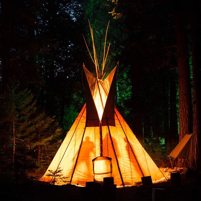 The best place on earth: @elementskatecamp, is finally open! The nighttime view of the @elementalawareness tipi lights the forest up like a lantern. Photo: @wizardstatus #elementskatecamp