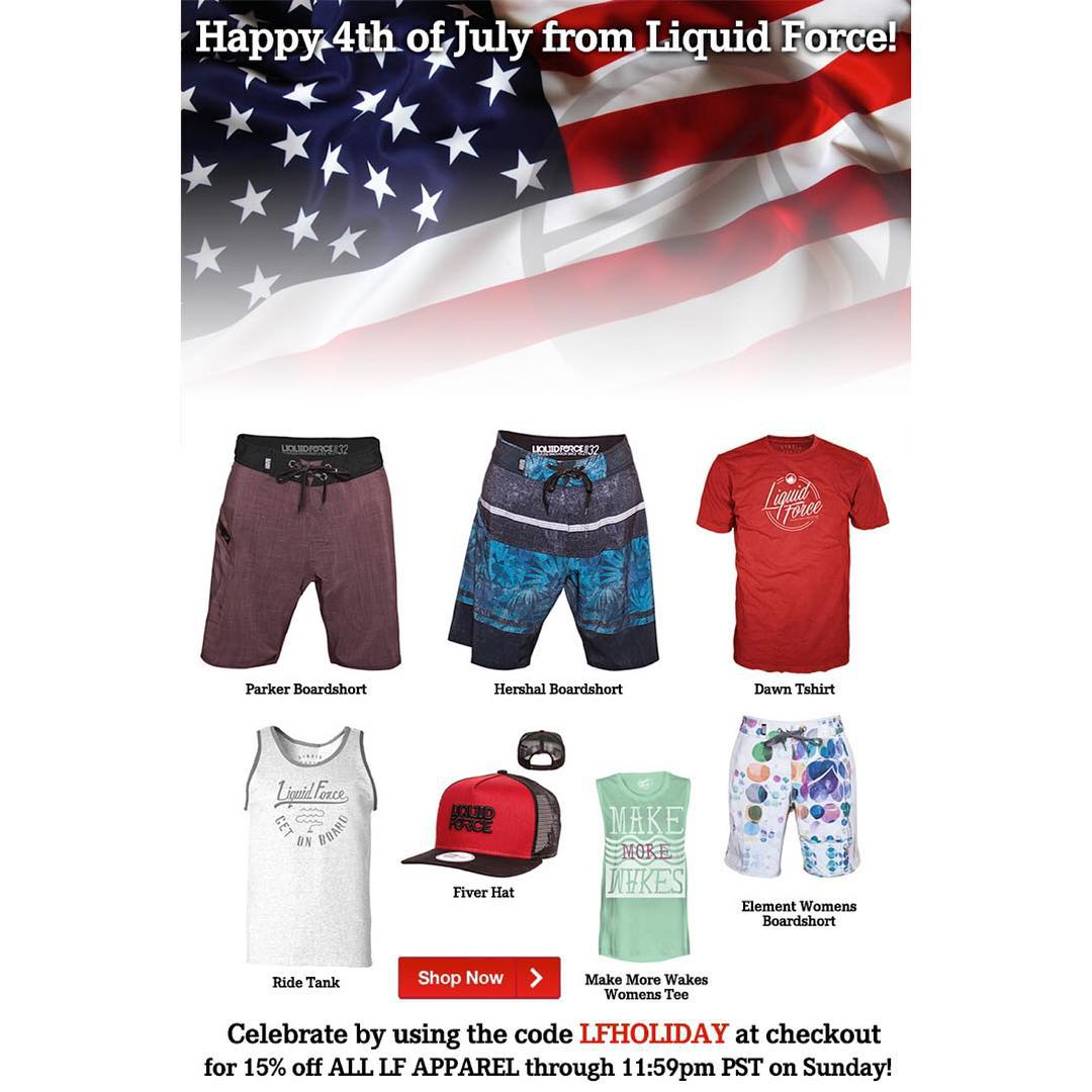 Celebrate July 4th in style with Liquid Force!  Head to LiquidForceApparel.com now, enter LFHOLIDAY at checkout & save 15% on your order!  #july4th #4thofjuly #lfapparel