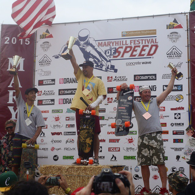 Brazilian Bad Boy, Silon Garcia won first in the Master category at this years #maryhillfestivalofspeed! @eastcoastlongboards got third place on his #orange #kegels Congrats gentlemen! Hope to see you legends next year!!! #Orangatang #80a
