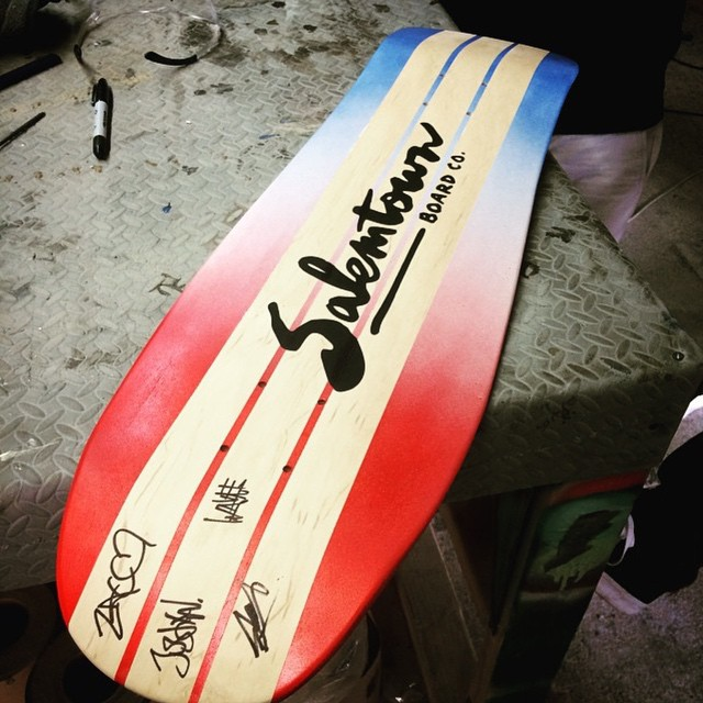 The dudes from @manoverboardnj came by today and made a board. More info later on. #handmadeskateboard
