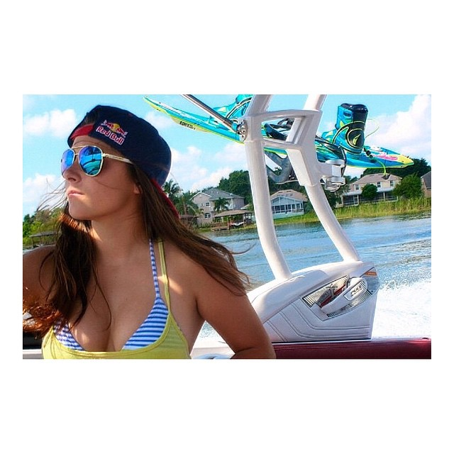 Hoven wake boarder  @larisa_morales looking stylish in her Dewey shades right before a little sesh.