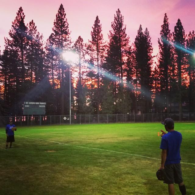 Great way to kick off July 4th week last night.  Softball and sunsets.  #getoutdoors #softball #beerleague #goodtimes #graniterocx